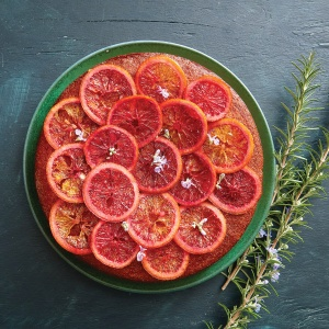 Blood Orange & Rosemary Polenta Cake