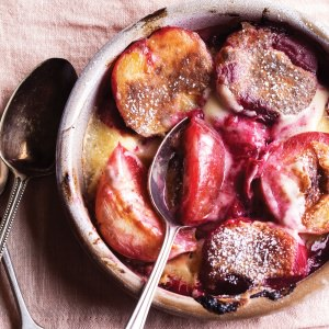 Bruleed Plums  with Armagnac Custard