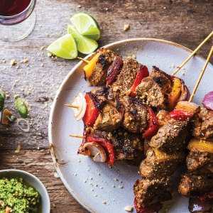 Beef Kebabs with Coconut Relish