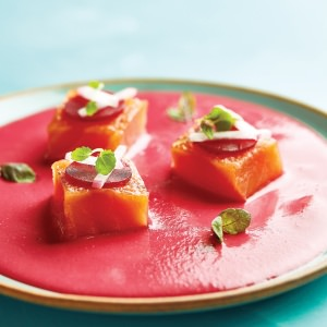 Salmon Gravlax with Pickled Beetroot  & Beetroot Velouté