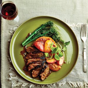 Duck Breast with Peaches & Sweet Potato Puree