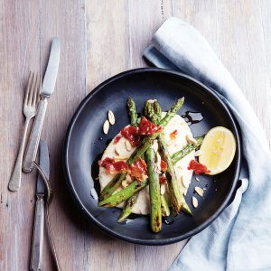 Chargrilled Asparagus with Tarator, Almonds & Prosciutto
